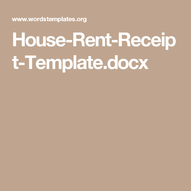 HouseRentReceiptTemplateDocx  Rental Receipts