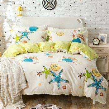 Turquoise Lime Yellow And Cream Starfish And Seashell Print