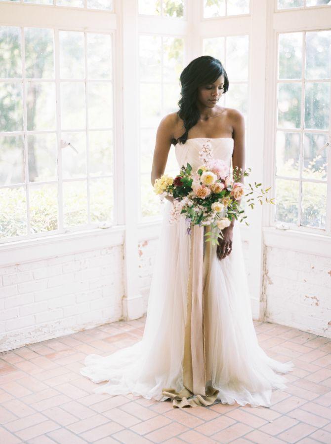 Strapless aline wedding gown: http://www.stylemepretty.com/2016/10/11/floral-filled-indoor-wedding-inspiration/ Photography: Apryl Ann - http://www.aprylann.com/