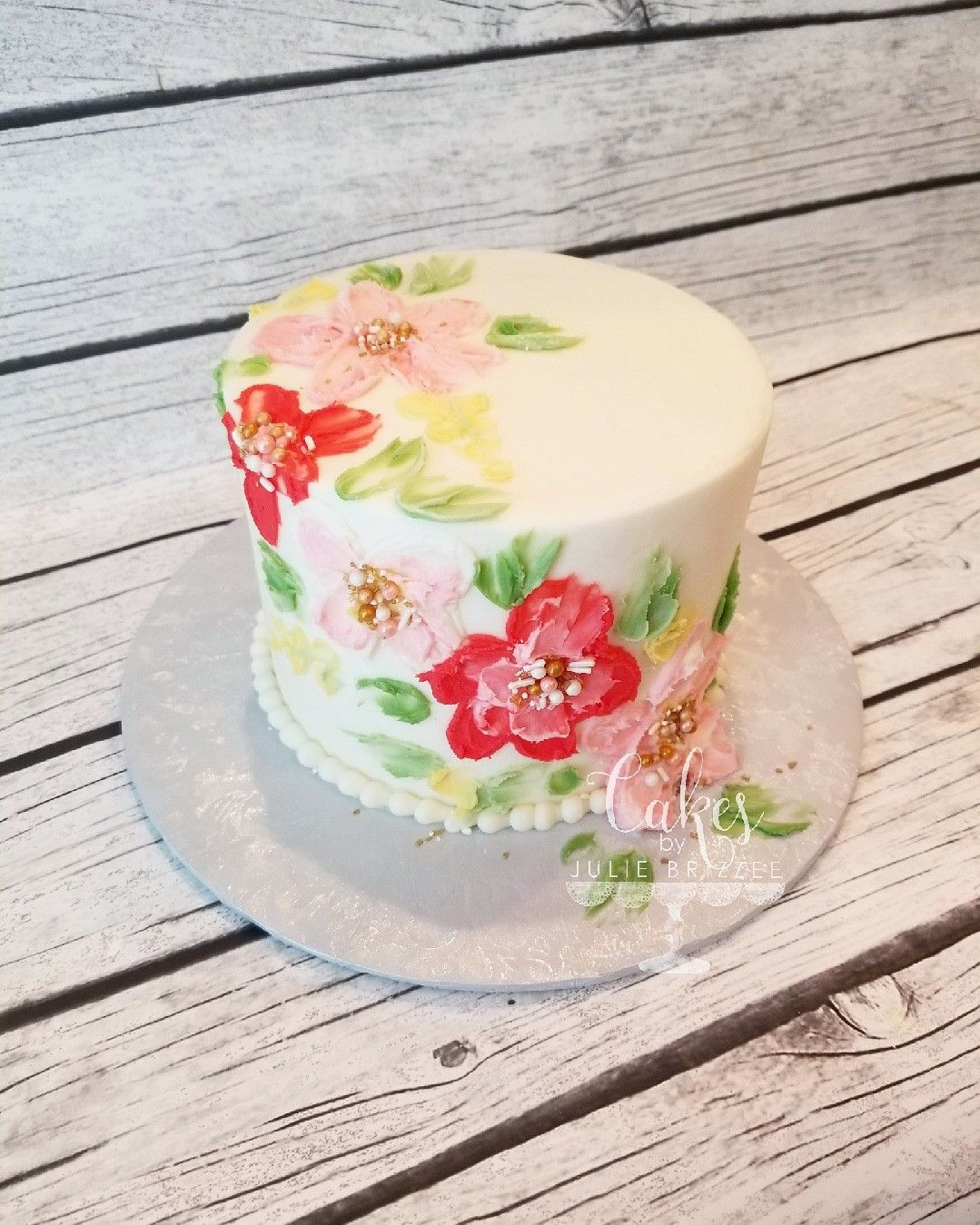 Palette knife buttercream painted cake! | Cakes by Julie ...