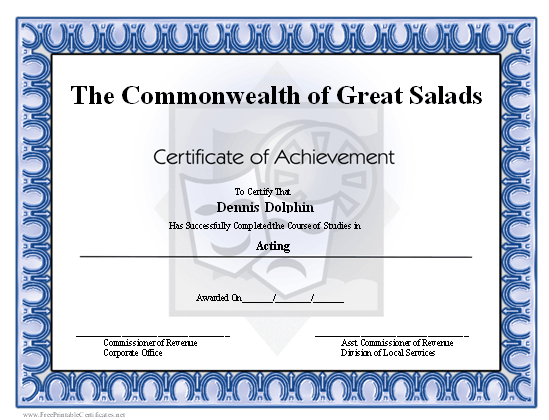 a printable certificate of achievement honoring an actor