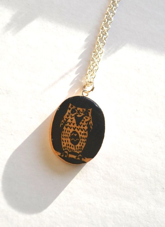 Oval wood owl pendant Silver wooden owl necklace by WishlistArt