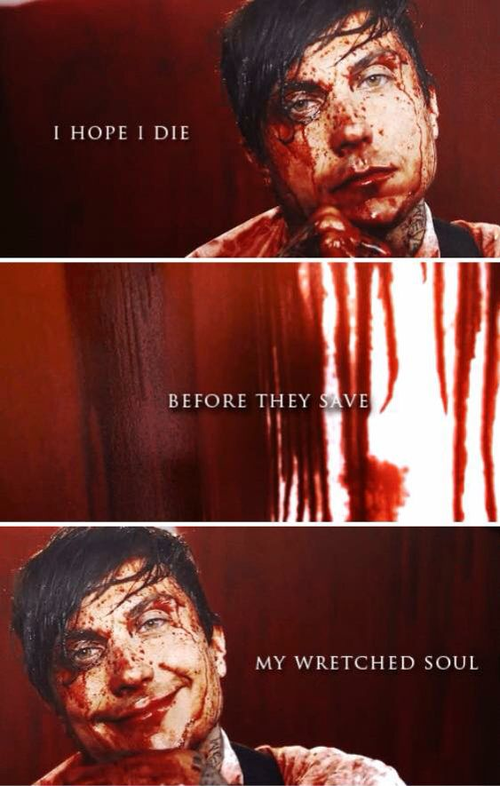 Lyrics containing the term: blood covered it all by the ...