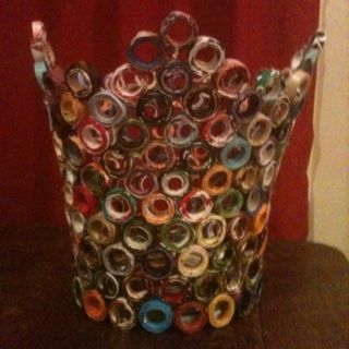 Waste paper basket made from recycled magazines i made for Art from waste paper