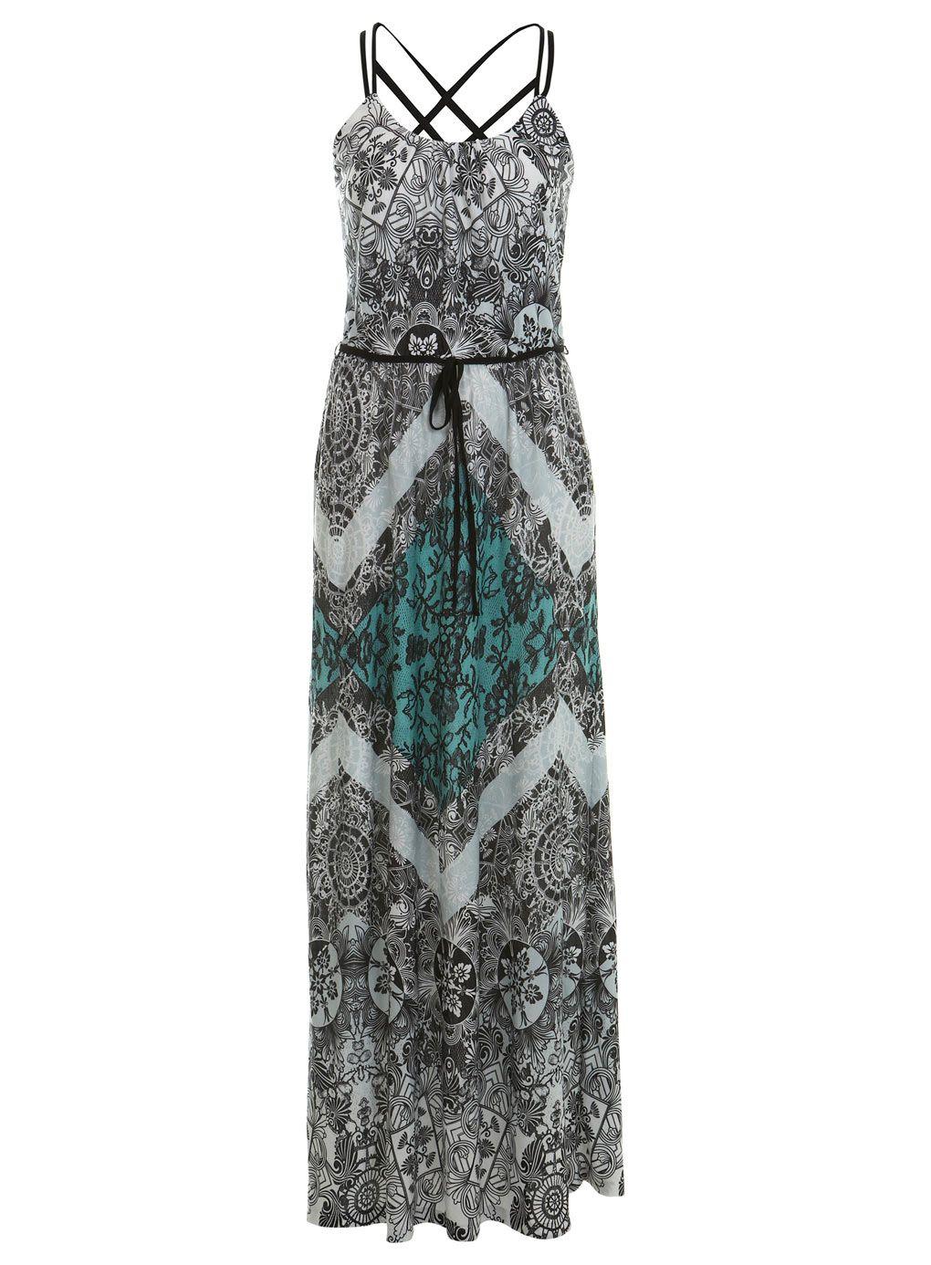 Lace Print Strappy Maxi Dress Viscose Maxi Dress Maxi Dress Strappy Maxi Dress [ 1386 x 1020 Pixel ]
