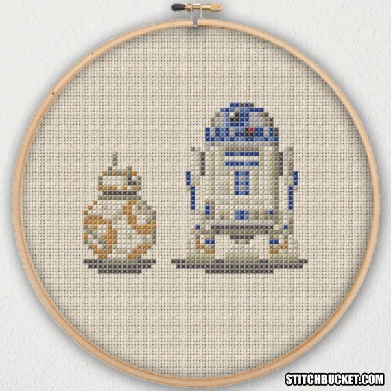BB-8 Ball Droid and R2-D2 Star Wars Cross Stitch Pattern - Instant ...