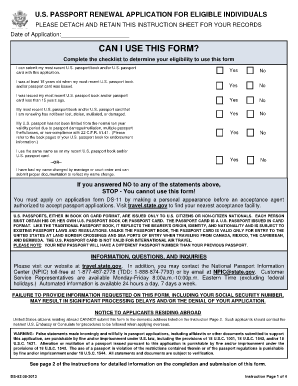 Ds  Fillable  Passport Renewal Form    Passport