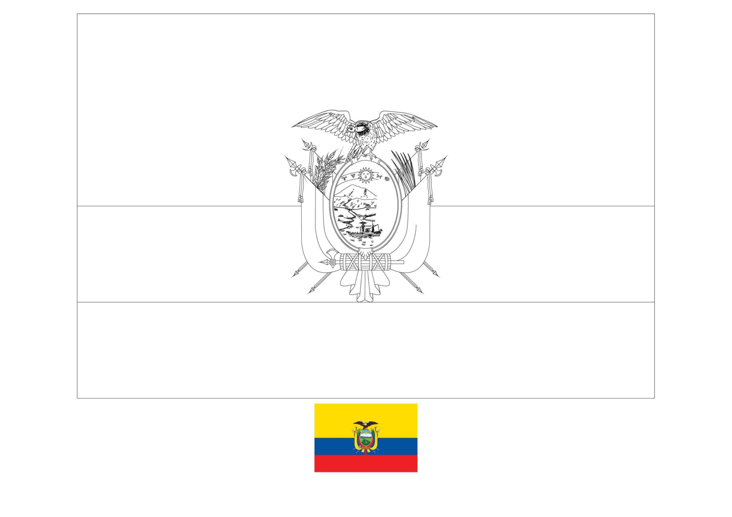 Ecuador Flag Coloring Page In