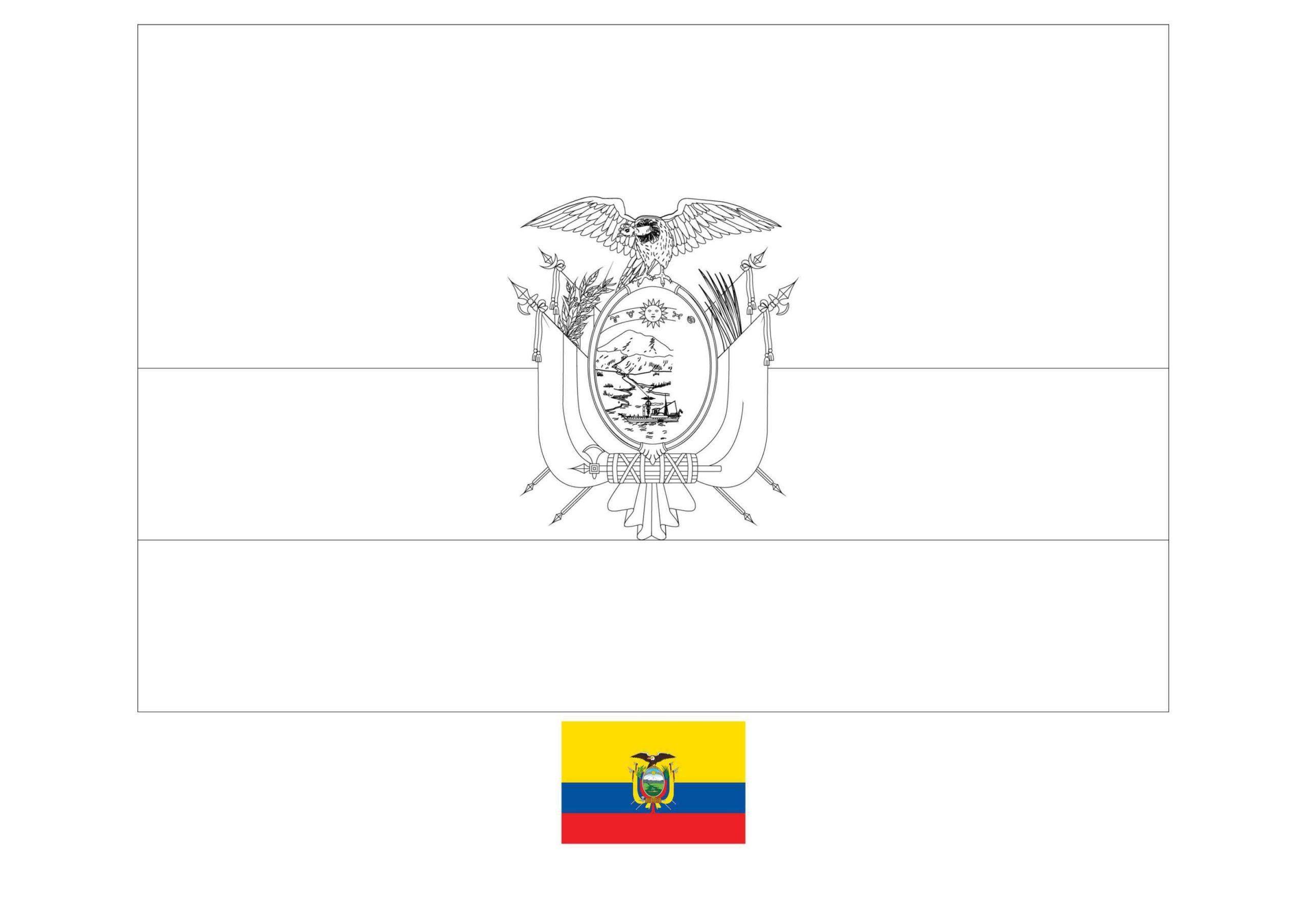 Ecuador Flag Coloring Page In