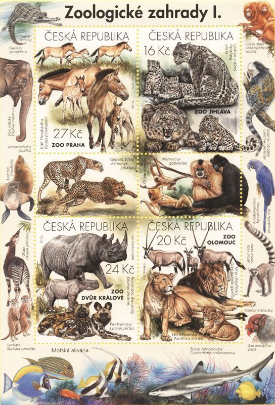 Czech Stamp Sheet Nature Protection Zoological Gardens I