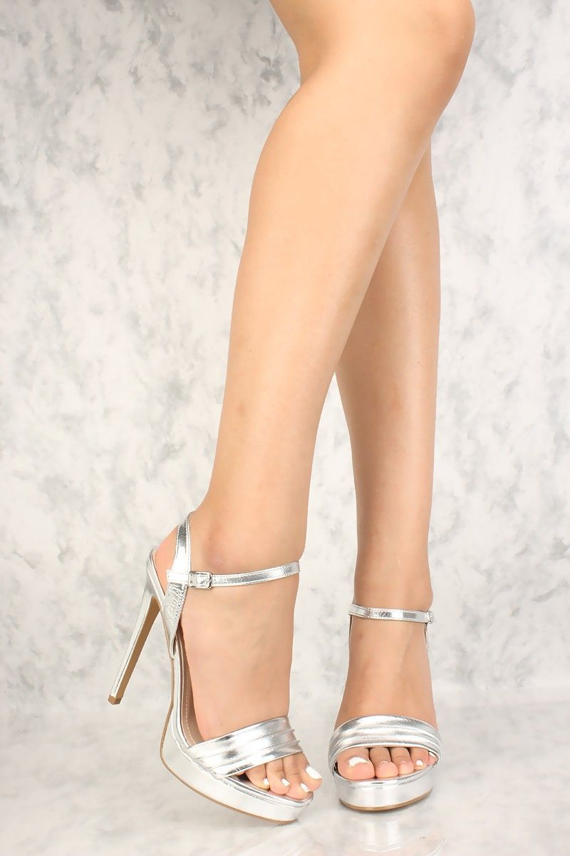 39b16ab9b Sexy Silver Metallic Open Toe Platform High Heels Faux Leather