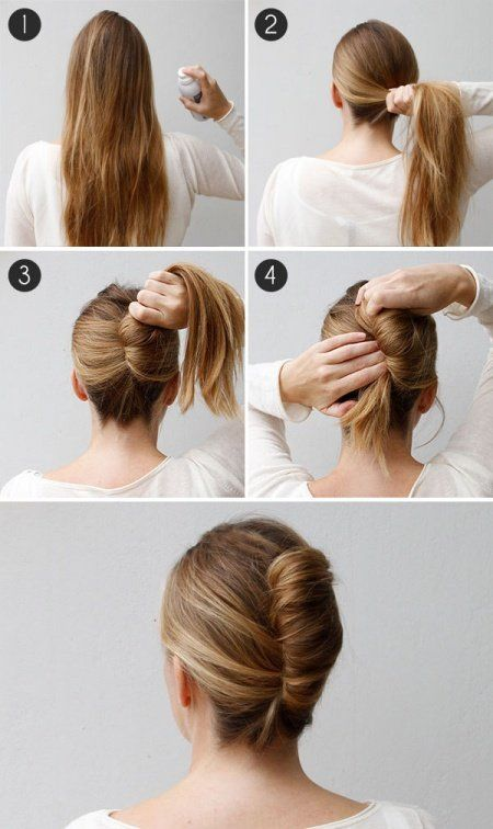 14 Beautiful Hairstyles You Can Finish In 3 Minutes Bun Hairstyles For Long Hair Medium Hair Styles French Twist Hair