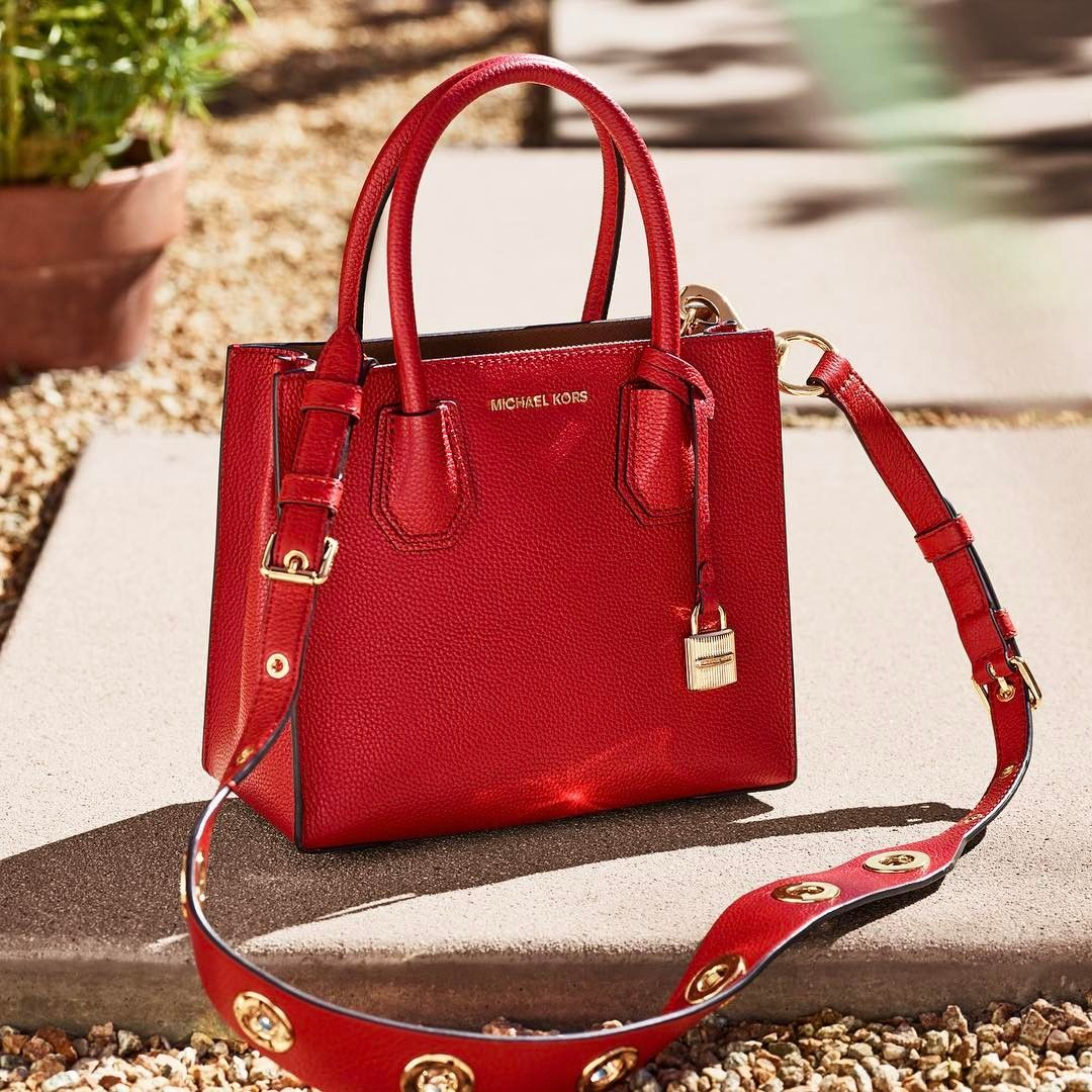 "4bb410513b93 Michael Kors on Instagram  ""Our Mercer crossbody is vacation red-y.   LivingInColor"""