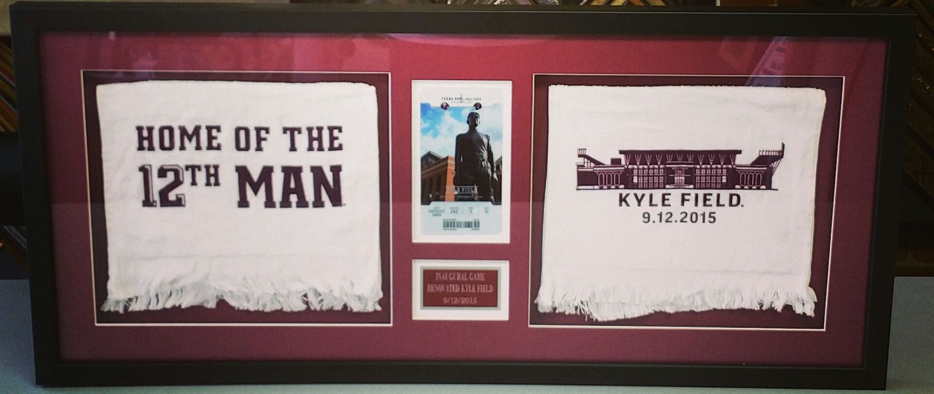 Tamu shadowbox featuring two towels a ticket and a custom name shadowbox featuring two towels a ticket and a custom name plate come see us for all your sports framing needs in denver jeuxipadfo Images