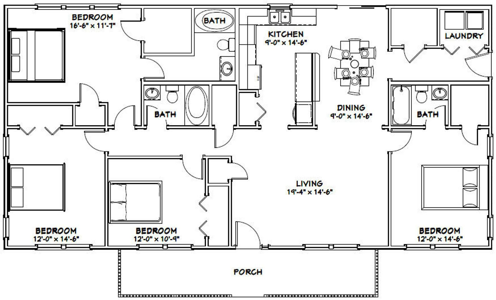 60x30 House 4Bedroom 3Bath 1,800 sq ft PDF