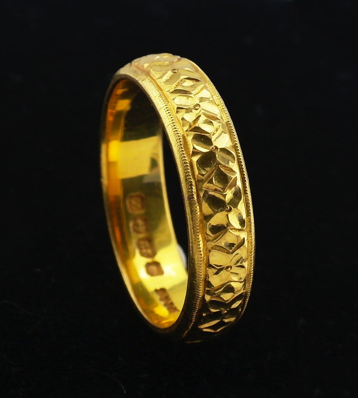 22k Gold Wedding Band Ring Size Us 7 75 Uk P Vintage 1924 J664 Gift