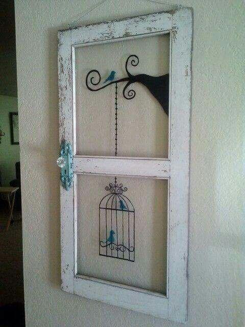 Bird, bird cage, old WI dow