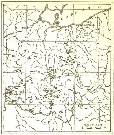 Map showing the locations of the Ohio mound builders works ...