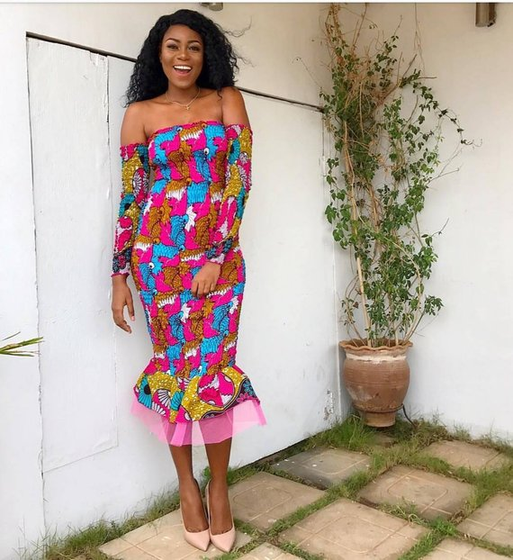 Image result for OFF SHOULDER ANKARA DRESS