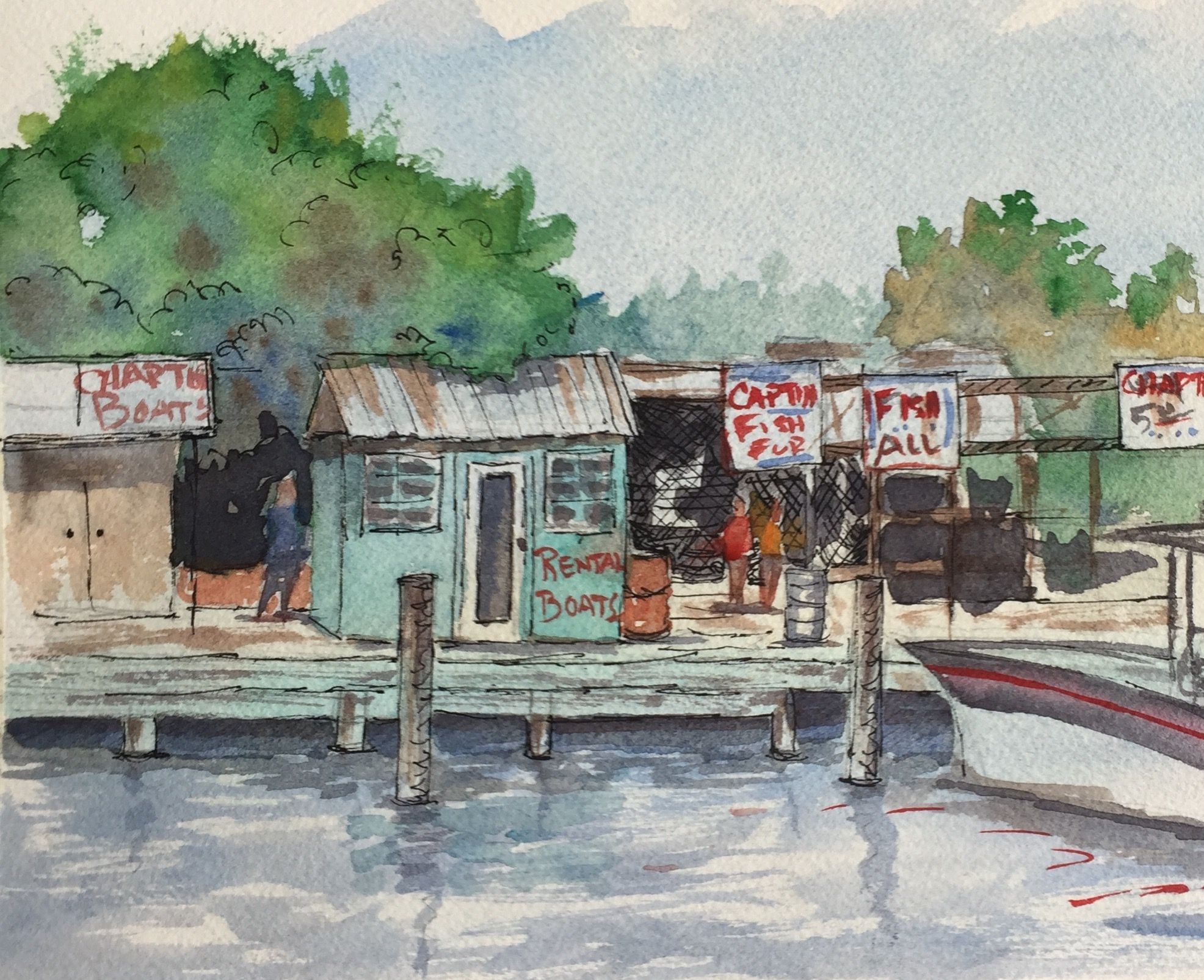 Key West Fl Fishing Charters Original Watercolor M Price Key