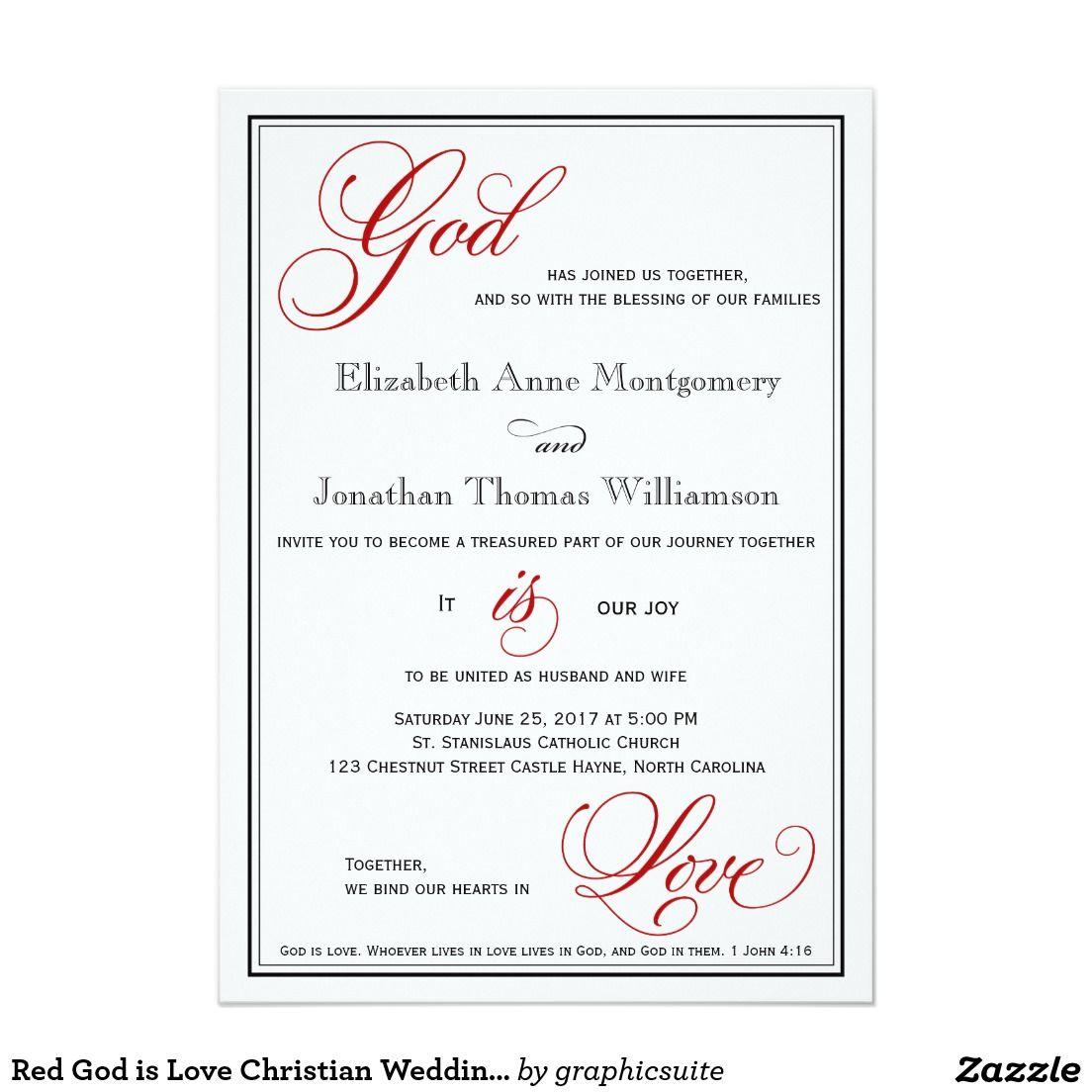 Christian Wedding Reception Ideas: Red God Is Love Christian Wedding Invitations In 2019