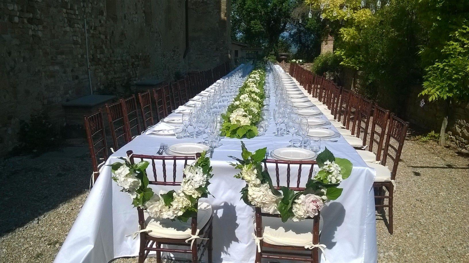 matrimonio: decorazione sedie con ortensia. Castello di ...