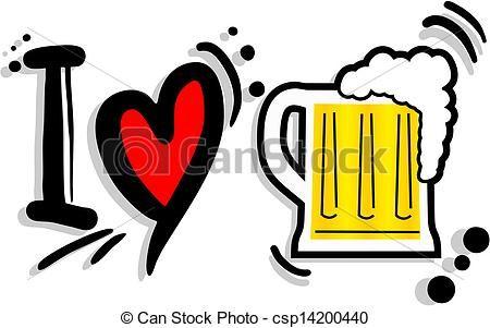 Download Vector. Amo la cerveza. Stock de ilustración. I love beer ...