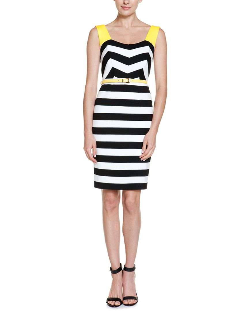 NUE by Shani Black, White, & Yellow Stripe Belted Dress is on Rue. Shop it now.