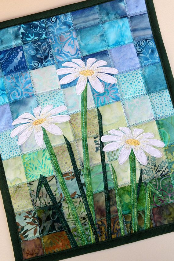 Batik Daisy Quilted Wall Hanging Art Quilt Pattern Or Kit Etsy Landscape Art Quilts Quilted Wall Hangings Patterns Watercolor Quilt
