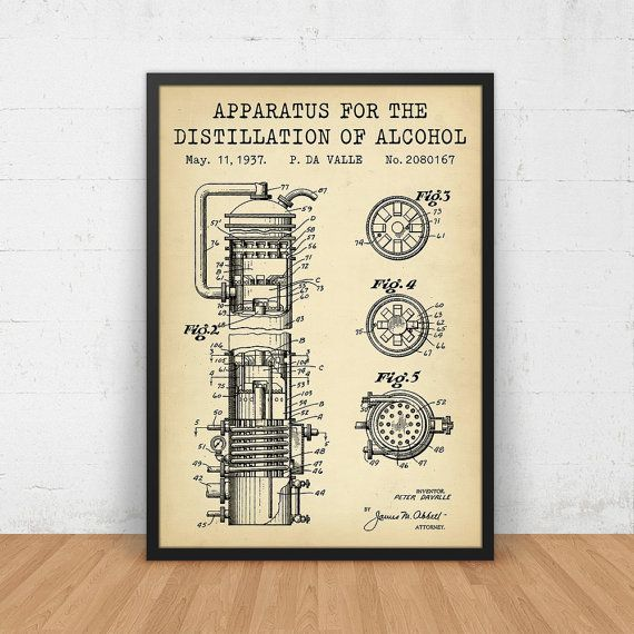 Alcohol Poster, Distillation Of Alcohol Patent, Digital Blueprint - copy business blueprint for manufacturing
