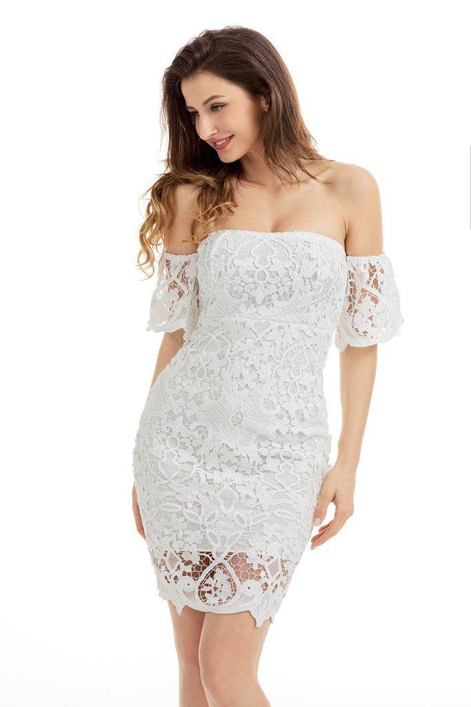 c2086b3e4c28 White Short Sleeve Off Shoulder Strapless Lace Bodycon Dress MB220026-1 –  ModeShe.com
