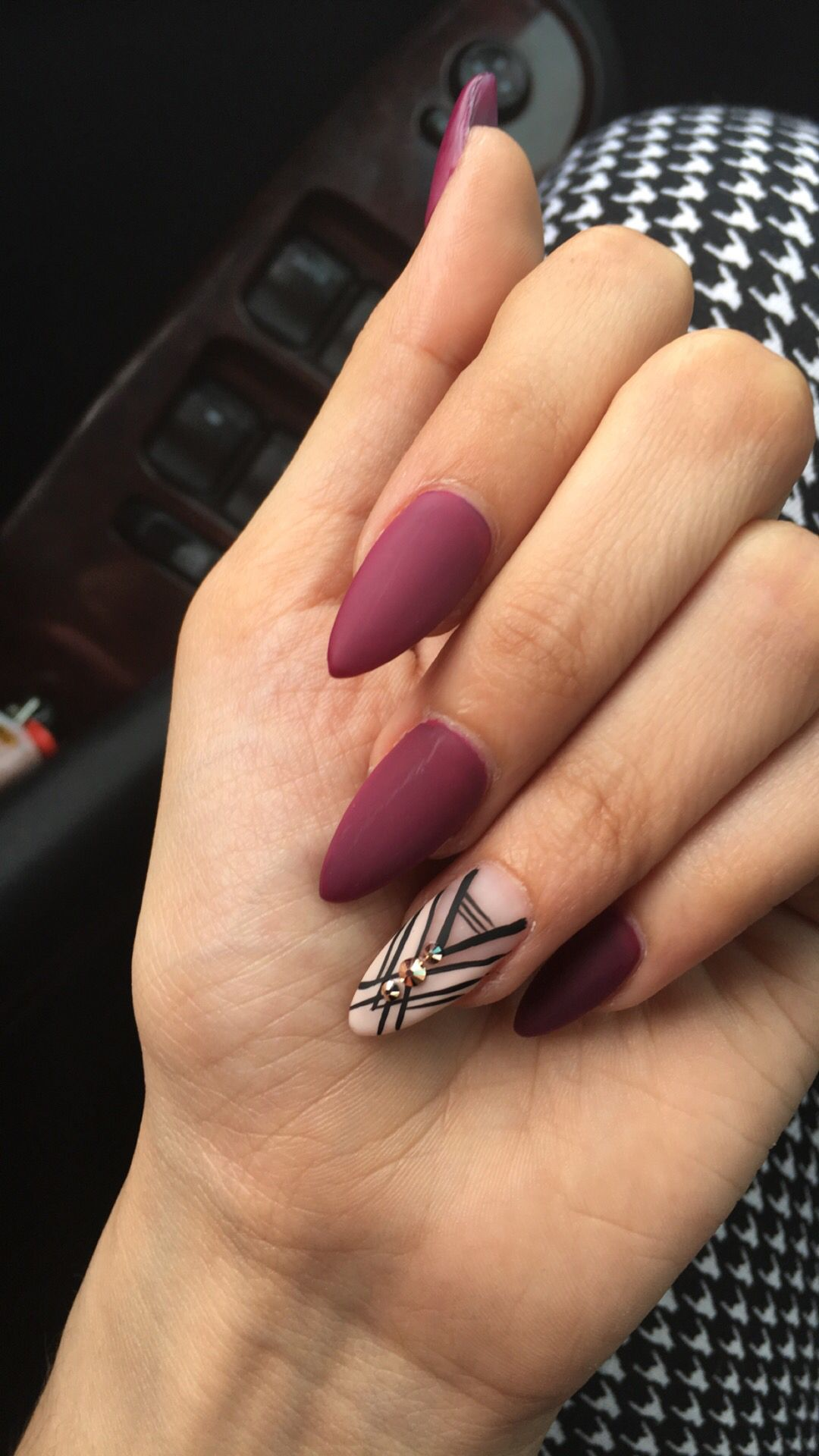 Matte purple stiletto nails with accent nail done by @riyathai87 ...