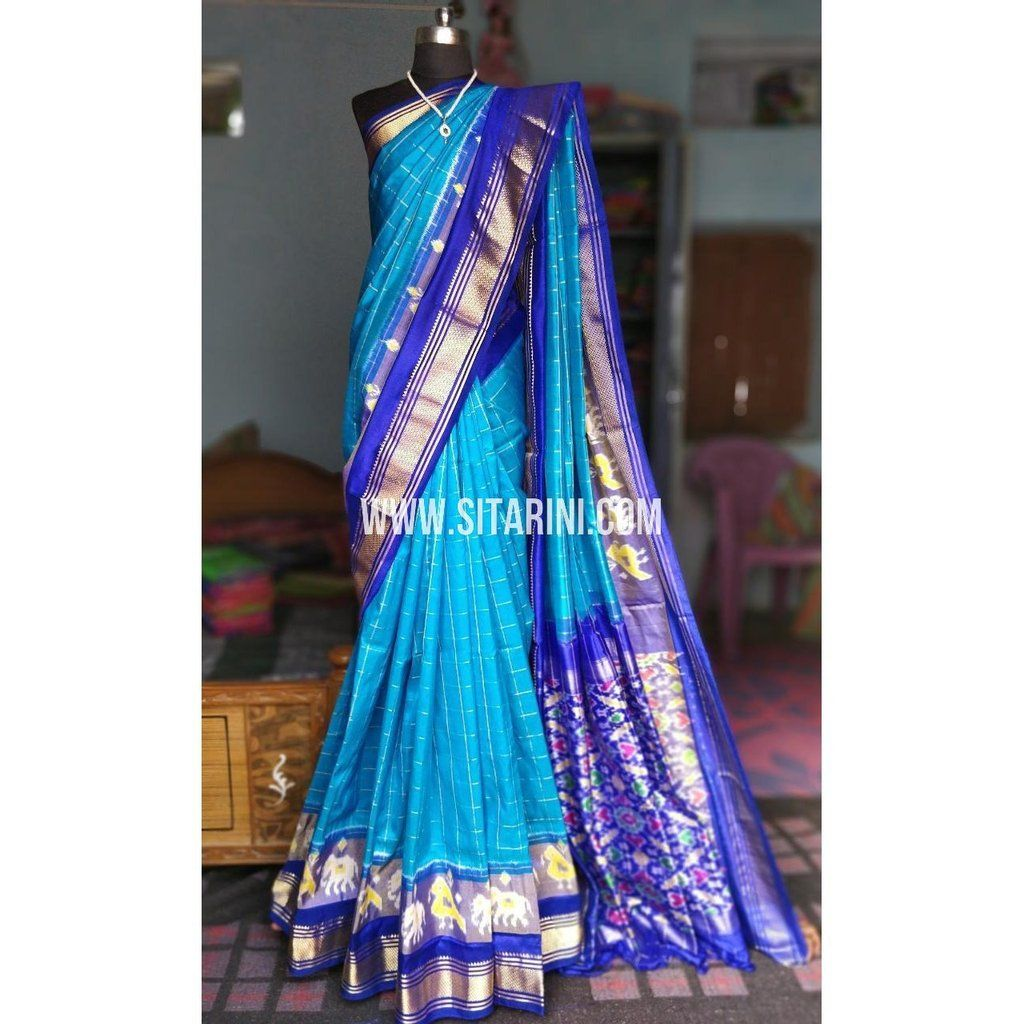 6fc99c07bc973 Ikkat Pattu Sarees-Blue and Royal Blue–Sitarini. To order please WhatsApp us