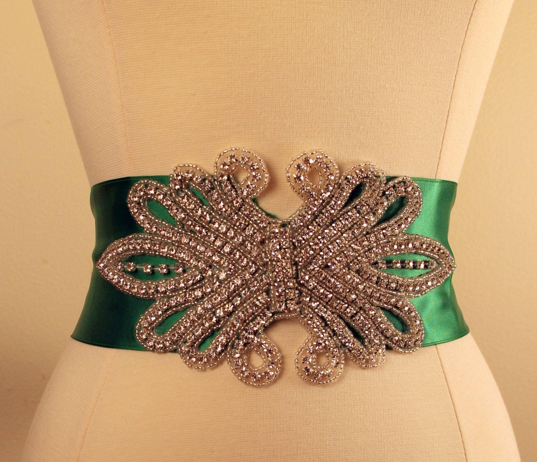 Green Rhinestone Bridal Sash, Wedding Belt,