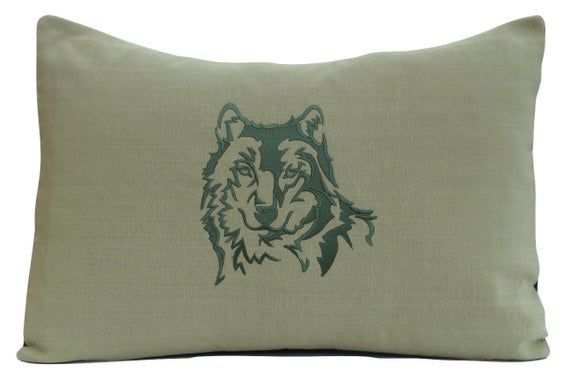 Embroidered Wolf Pillow - Animal Pillow - Wildlife - Wilderness - Woodland - Nature - Silhouette - H