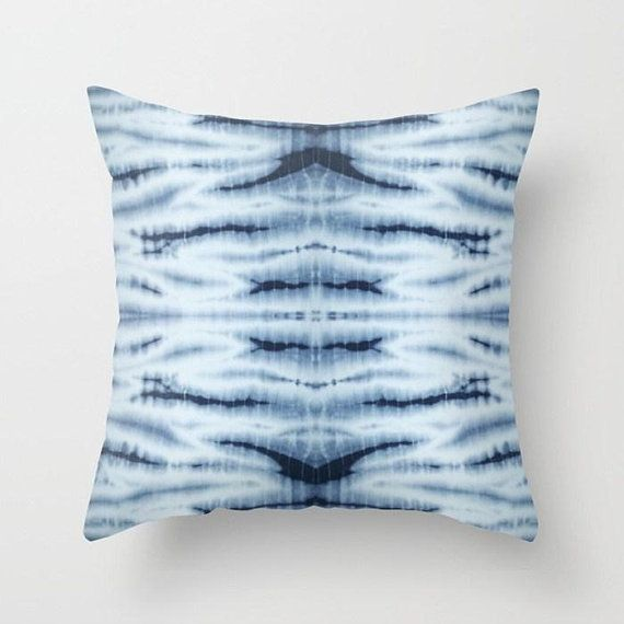 Blue Pillow Shibori Cushion Cover Boho Throw Pillow Tie Dye