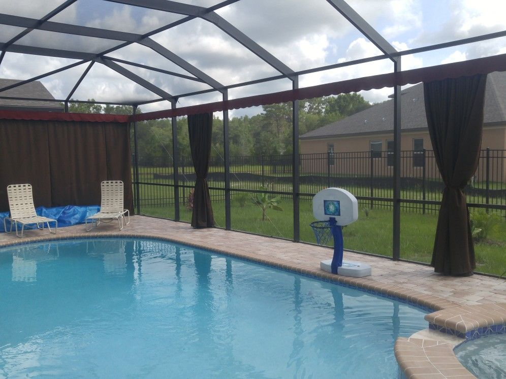 Outdoor Screen Enclosure Or Lanai Curtains The Best Outdoor Privacy Option Never Lose Your View Myprivacy Outdoor Screens Outdoor Privacy Screen Enclosures