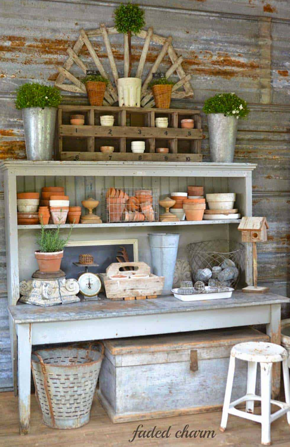 30 Brilliant And Inspiring Storage Ideas For Your Potting Shed Potting Bench Pallet Garden Benches Potting Sheds