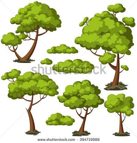 Set Funny Cartoon Trees Green Bushes Stock Vector (Royalty Free) 394719988