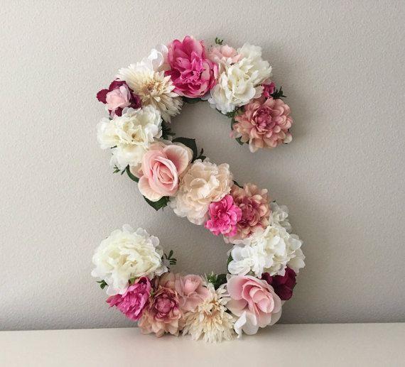 """Large Floral Letter, 19"""", 21"""", 24"""", 27"""", Large Flower Letter, Floral Number, Shabby Chic Decor, Vintage Wedding Decor, Girl Nursery Letter"""