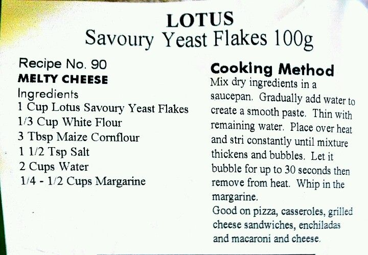Lotus savoury yeast flakes melty cheese recipe.