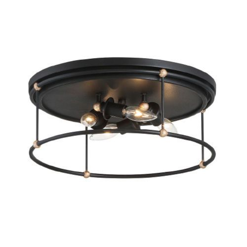 Westchester County Sand Coal And Skyline Gold Leaf Four-Light Flush Mount - Canopy Dimension: 0.75 In. H x 16.5 In. W - Dimmable Minka-Lavery - 1040-677 | Minka-Lavery 1040-677 Westchester County Four-Light Flush Mount in Sand Coal/Skyline Gold Leaf, Transitional | Bellacor