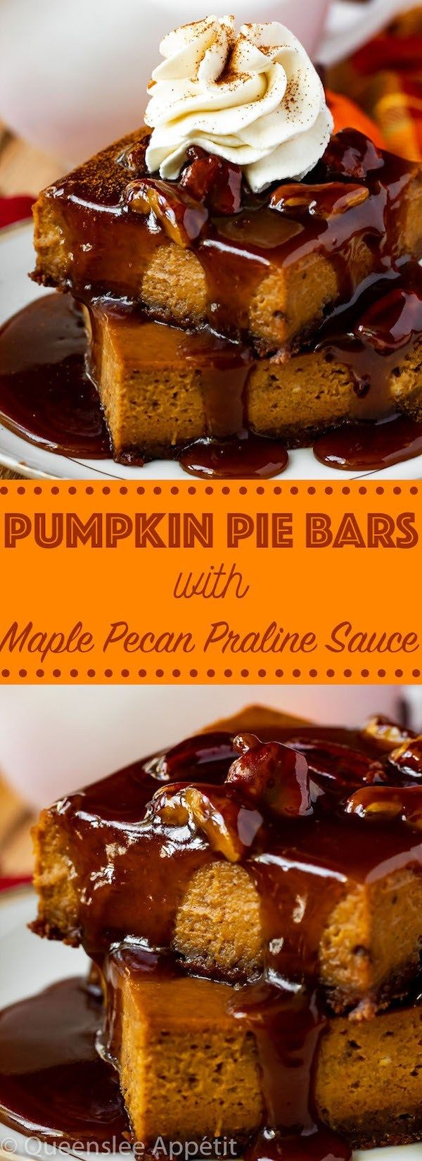 Pumpkin Pie Bars with Maple Pecan Praline Sauce   Recipe ...