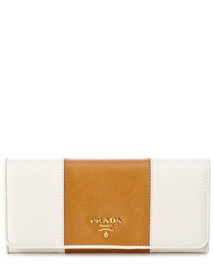 c0dd446a0c4b Prada Saffiano Leather Bicolor Flap Wallet