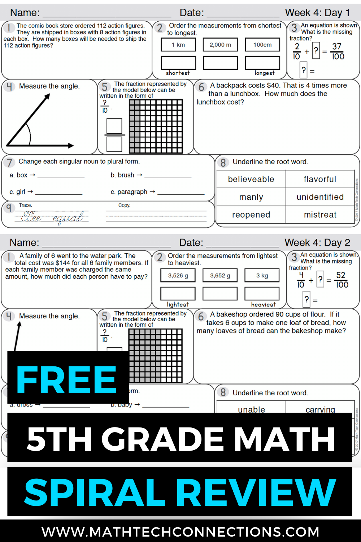 FREE 5th Grade Math Spiral Review [ 1500 x 1000 Pixel ]