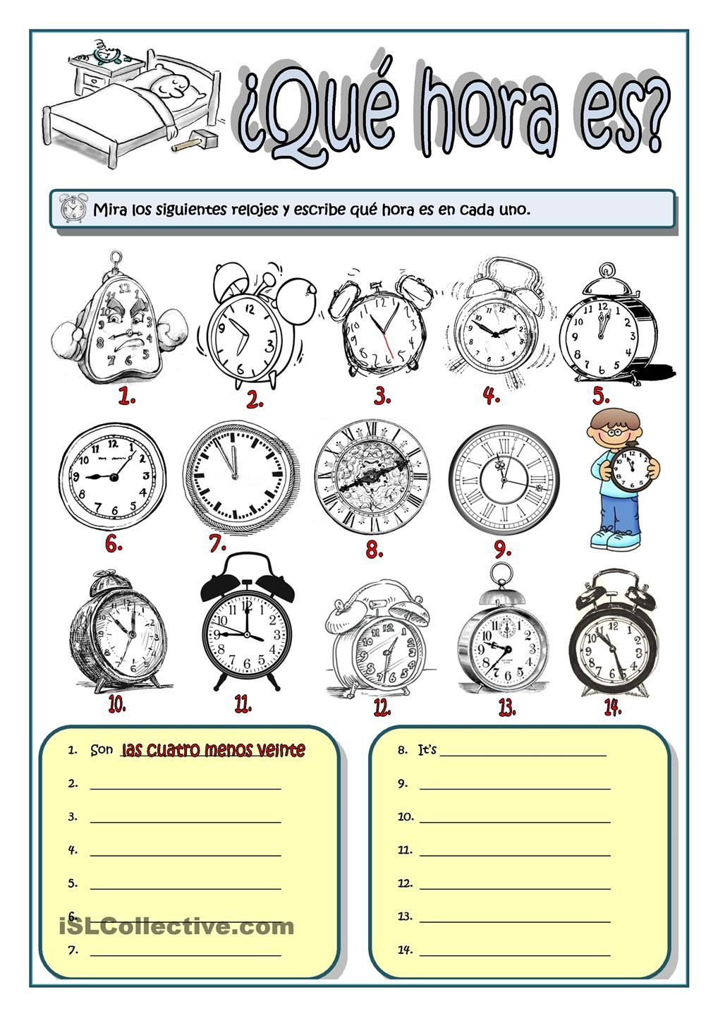 Worksheets La Hora Worksheet hora es a1 y a2 pinterest spanish telling es