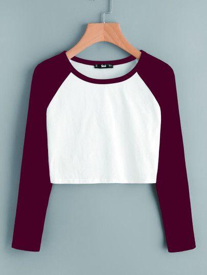 0b2f3930dcb460 Contrast Raglan Sleeve Crop T-shirtFor Women-romwe   blackprint ...