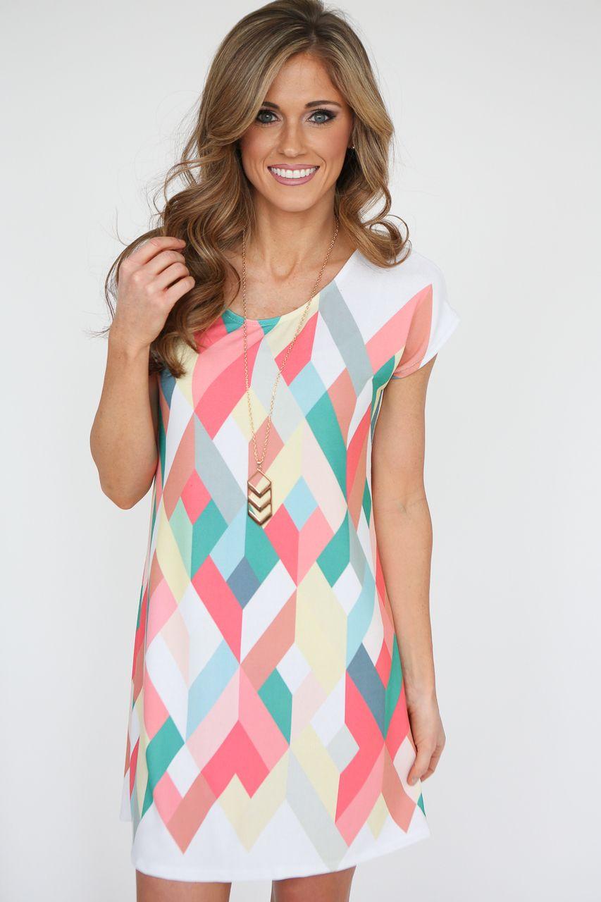 5c74904285fc7 Kaleidoscope Print Short Sleeve Dress - Coral Multi - Magnolia Boutique