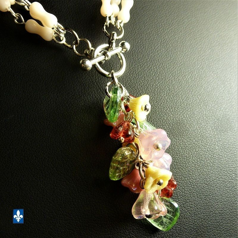 ♥ Nice Floral Mixed Gold Green & Pink Tones Czech Glass Plated Silver Bracelet