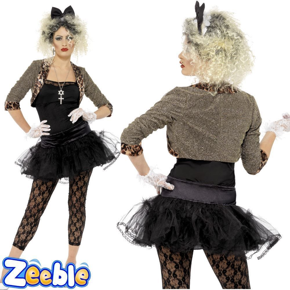 155658c1c651 Madonna Costume Womens 80s Wild Child Fancy Dress Ladies Pop Rock Star  Outfit